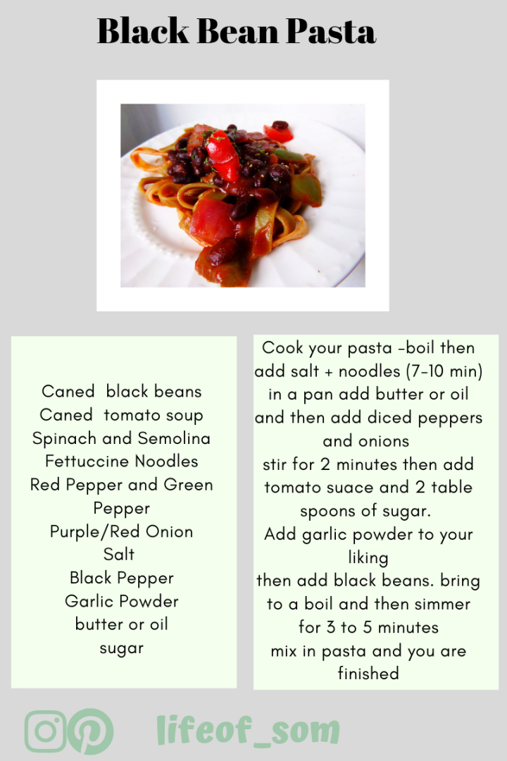 can of black beans can od tomato soup Spinache and Semolini fettuccine noodles red pepper and green pepper purple_red onion salt black pepper garlic powder (1).png